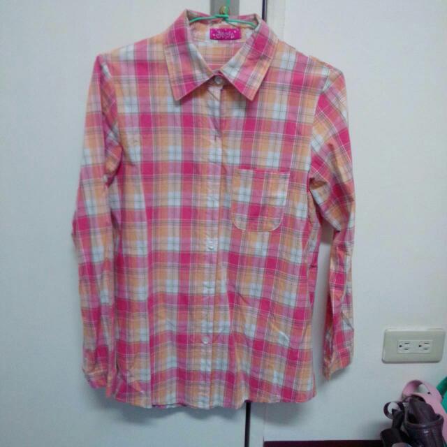 橘粉格子襯衫