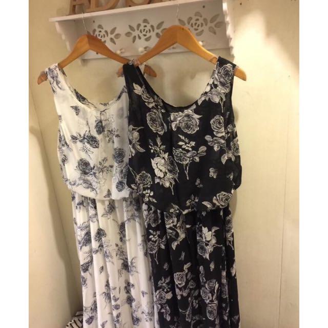韓系成熟性感復古玫瑰黑色顯瘦長洋裝💕