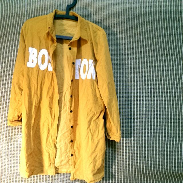 螺紋黃長襯衫