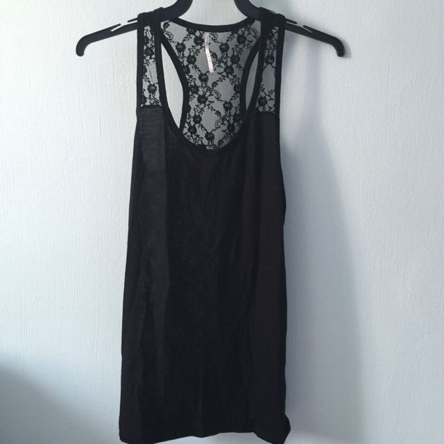 c0b9b8df075a6 Black Lace Racerback Tank Top