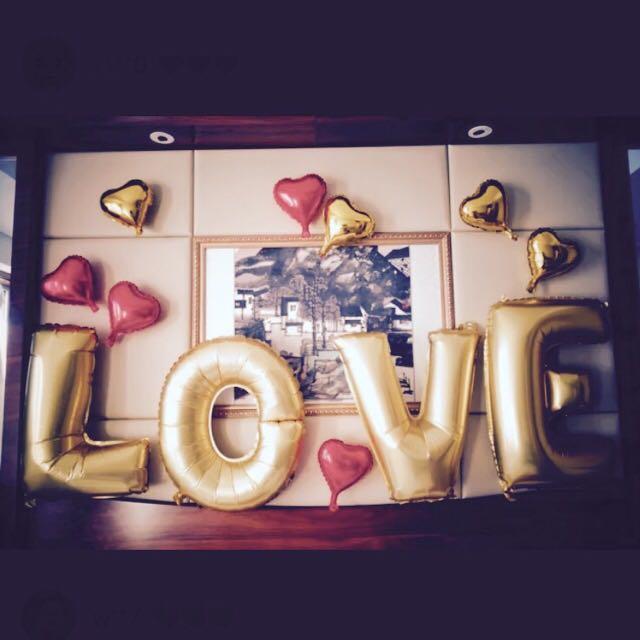 LOVE氣球( 32寸大字母氣球 求婚 情人節 驚喜 婚禮布置 婚佈 鋁箔氣球 生日 創意婚禮 告白 佈置)