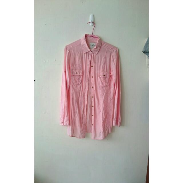 NET粉色長版襯衫