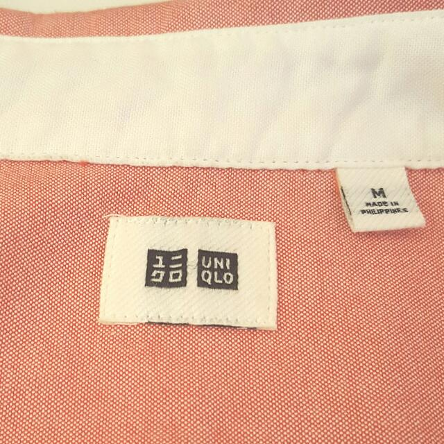 uniqlo cotton long sleeve shirt- coral pink (M)