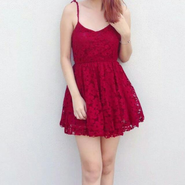 Wine Red / Maroon Lacey Dress!