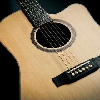 極新,40吋原木單板民謠吉他切角造型