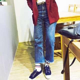正韓 原色藍 小直筒 高腰 牛仔 寬褲 不收邊 M號