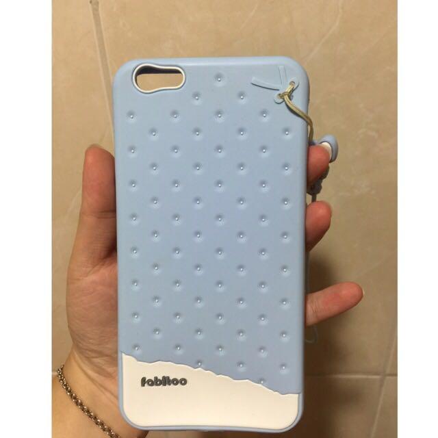 🌀☀️出清100元☀️🌀iPhone6+ 餅乾款水藍色手機殼(非新品)