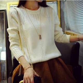 秋裝女裝新款三角波普紋百搭純色圓領毛衣