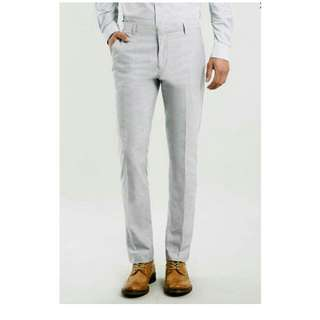 Topman Light Grey Oxford Skinny Fit Trousers