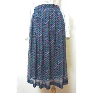 VSK0141218迷幻斜紋圓點古著打褶裙