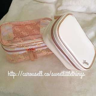 ✅InStock Guess Makeup Pouch Cosmetic Bag Purse 2 Pieces Set