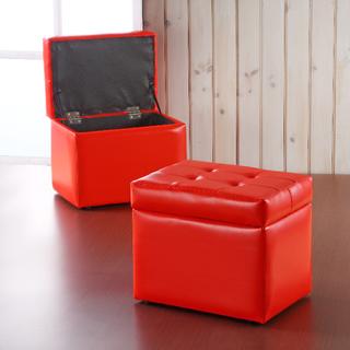 ★免運費-全新★紅色掀蓋式收納椅凳