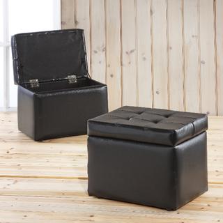 ★免運費-全新★黑色掀蓋式收納椅凳