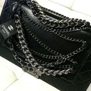 Chanel Le Boy Flap Bag Black Calfskin With CC Chain