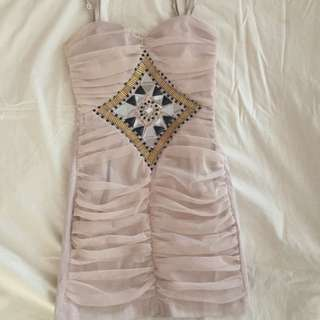 Strapless beige detailed gold and black embellishment party dress