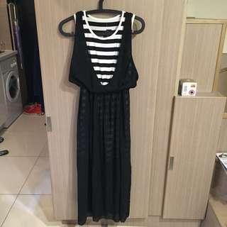 💥【長洋裝】雪紡修身飄逸黑白條紋長洋裝 全新