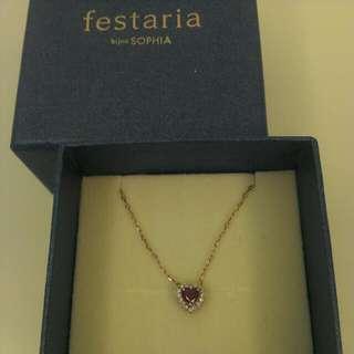 日本 festaria 紅寶碎鑽鑲邊10k玫瑰金項鍊