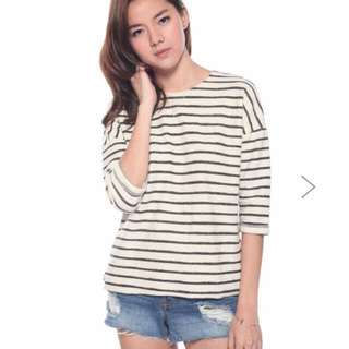 Love Bonito - BRAND NEW WITH TAG - Seana Striped Top (Black) Size S (UP: $32)