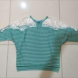 全新T-PARTS肩膀蕾絲鏤空蝴蝶袖針織衫(待匯款)