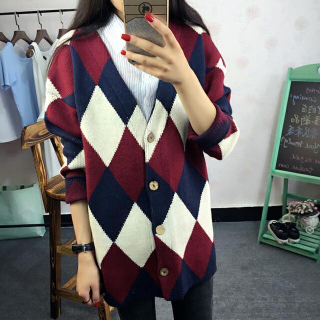 學院風復古撞色毛衣開衫長袖方塊菱形幾何外套
