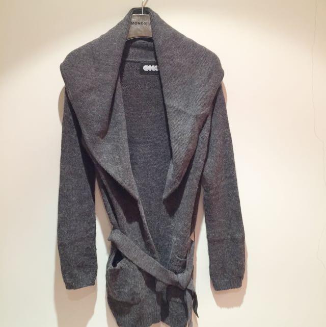 設計師品牌深灰色羊毛長外套