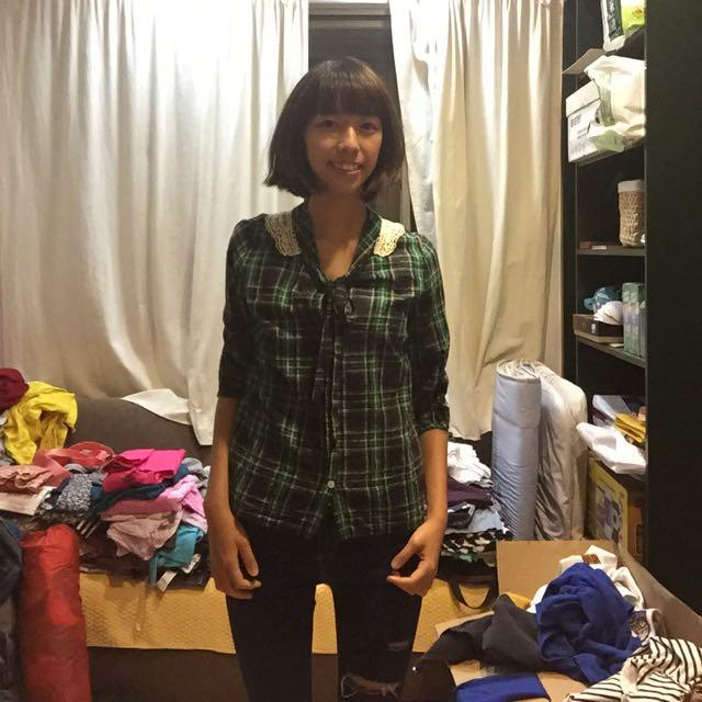 蕾絲綠色格子麻襯衫