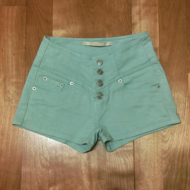 四排釦 果綠色 蒂芬妮綠 高腰 牛仔 短褲#兩百元短褲