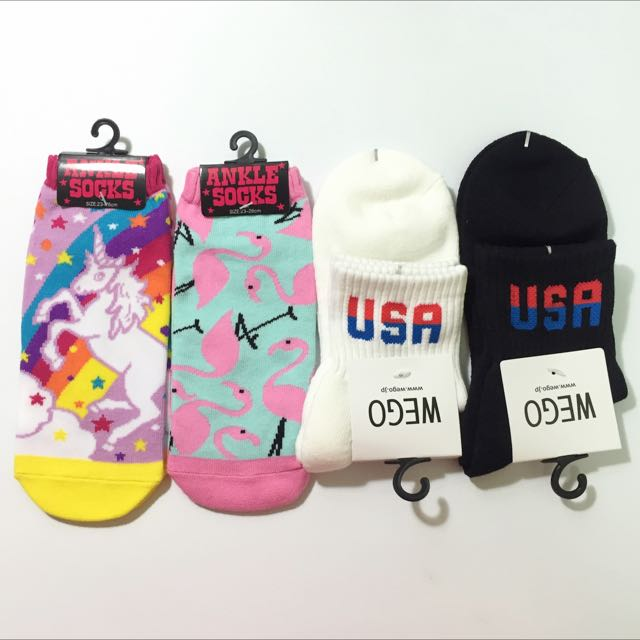 降🌟全新 日本 Wego 正品 獨角獸 紅鶴 襪子