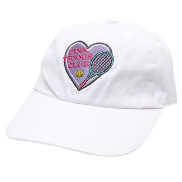 Sold Out!全新 日本代購 Wego 網球愛心刺繡 白帽