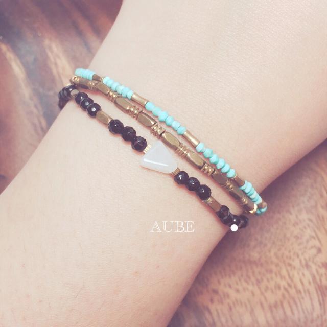 【Aube】 限量。藍松金竹 霧感緻細鍊 - 手作天然石黃銅手鍊