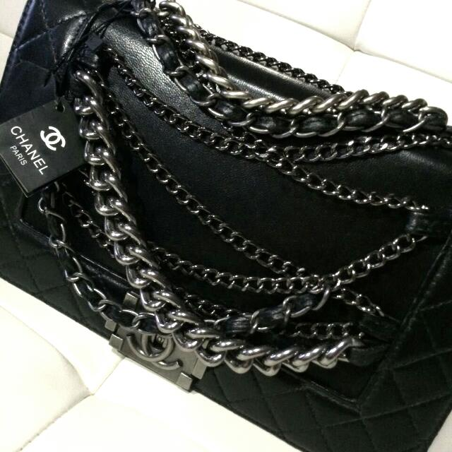 Chanel Le Boy Flap Bag Black Calfskin With CC Chain