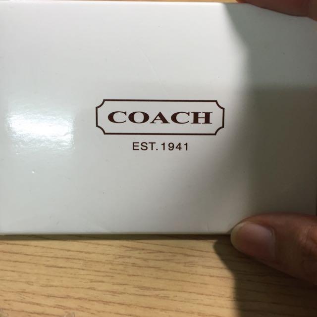 Coach正品金色小方鏡
