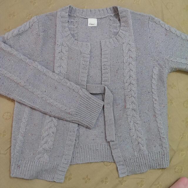 Gozo 藕紫色毛料麻花針織外套