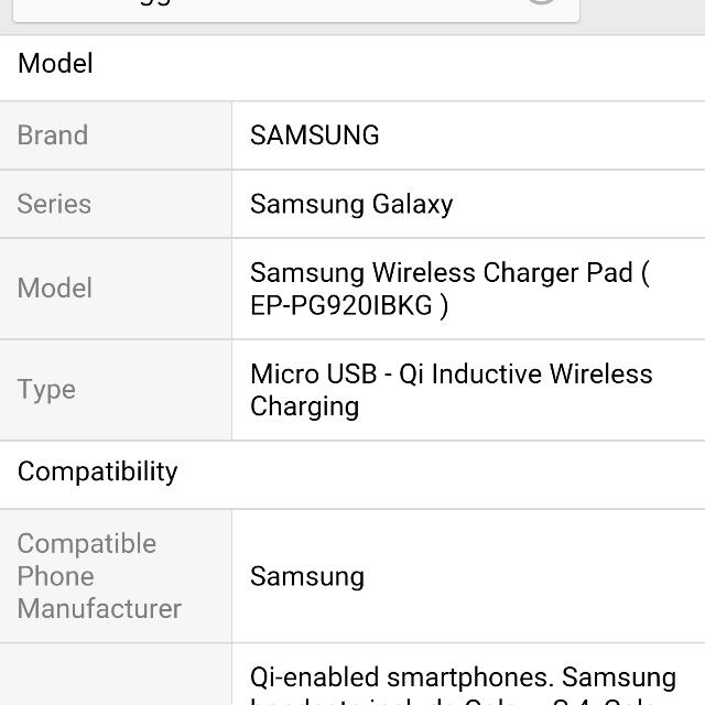 Samsung Wireless Charger Pad [EP-pg920i]