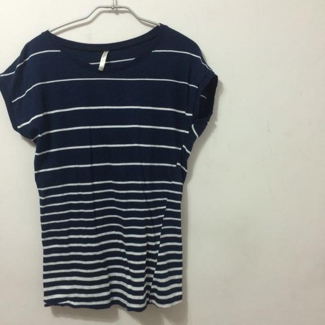 ::棉質條紋T恤::