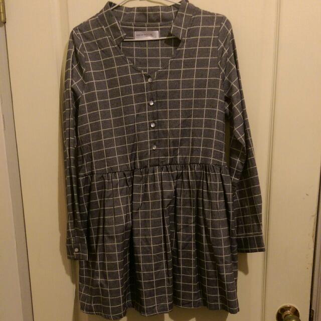 ✨降✨TOKYO FASHION 東京著衣 格紋連身裙 灰色