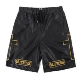 MJ Fresh MJF Cross Leather ShortS 9.5成S號 黑金十字架皮球褲 開幕 Remix Ars Supreme Undefeated