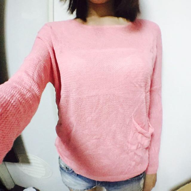 二手面交!粉色網狀罩衫100元
