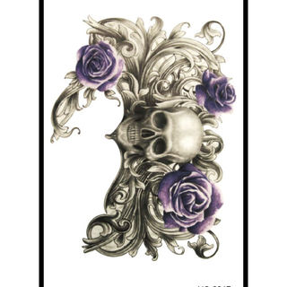 「肆號星球」歐美時尚刺青貼-花骷髏玫瑰刺青貼(男/女)