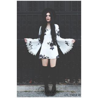 Duofei❥蕾絲花邊喇叭袖後背簍空印花連身裙