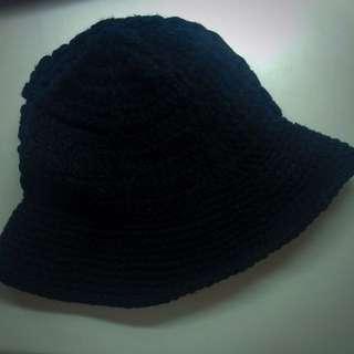 (可換物!!)黑色針織寬帽緣漁夫帽