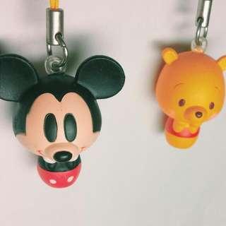 絕版 迪士尼 米奇 小熊維尼 扭蛋 吊飾