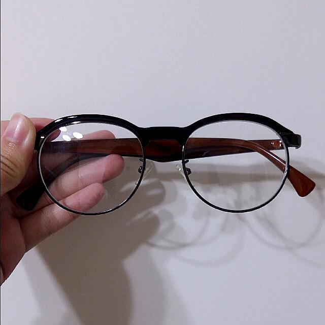 復古半框平光眼鏡
