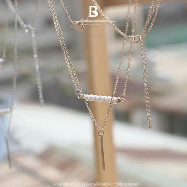 降!bonnyread全新金色優雅多層項鍊 珍珠