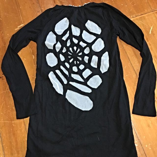 日本帶回 萬聖節 蜘蛛網紗網 黑色長踢