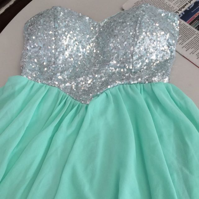 Turquoise/Mint Sequin Short Prom Dress