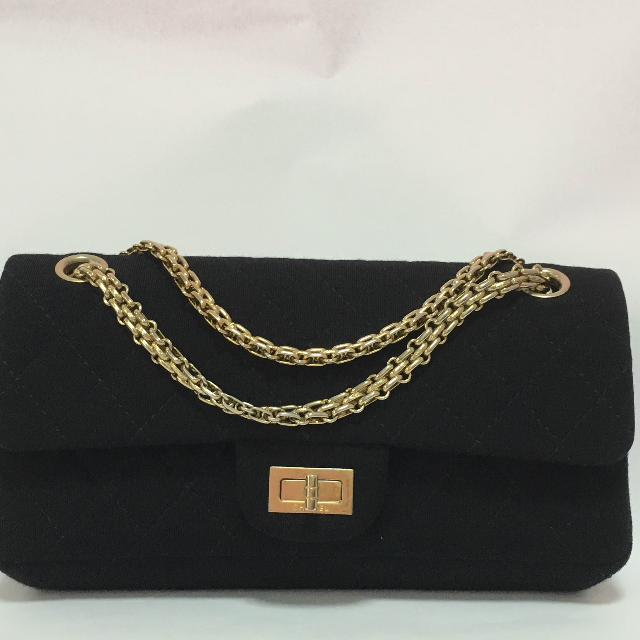 1f1bed667c62 Vintage Chanel 2.55 Black Jersey Fabric Mademoiselle Chain Double ...