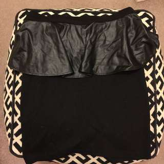 Black peplum skirt with faux leather detail SZ 14