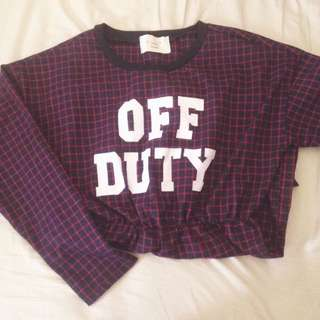 💃🏻VII&CO.購入—紅藍格紋英文字側開岔長袖洋裝✨