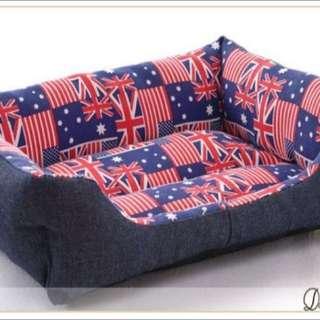 寵物用品 舒適牛仔寵物方形英國米字旗冬夏二用狗窩/狗墊/貓墊/寵物床 M號
